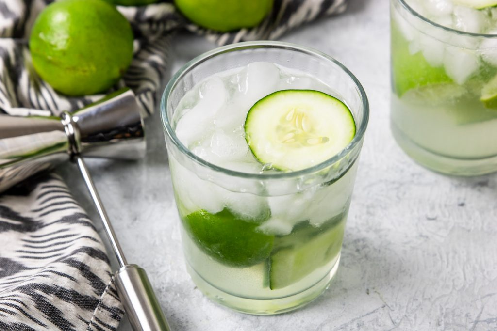 Cucumber cocktail with lime and tequila
