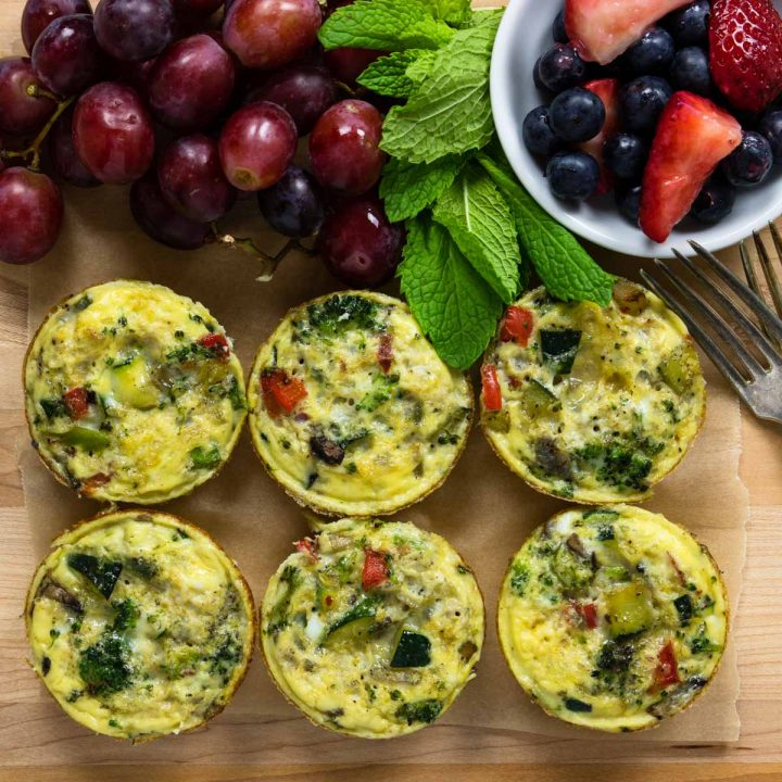 healthy breakfast egg cups on a cutting board