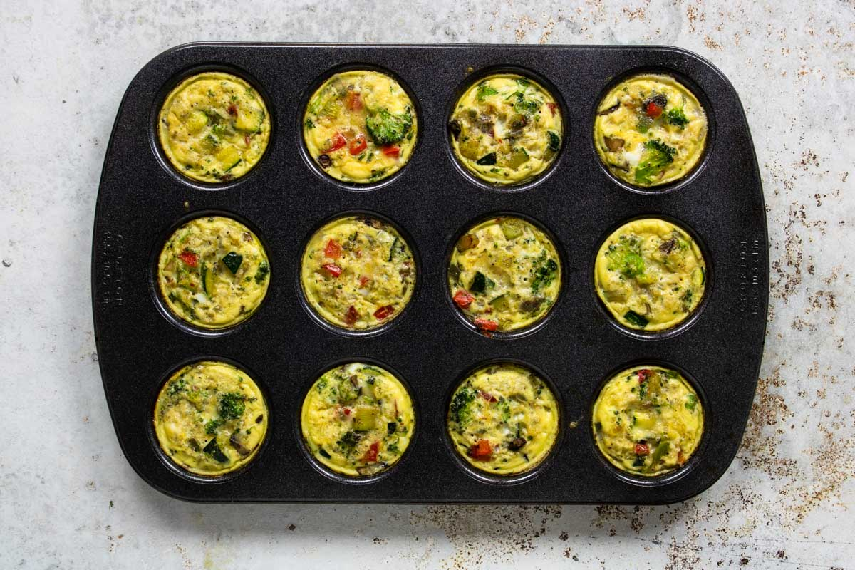 veggie egg cups cooked in a muffin tin