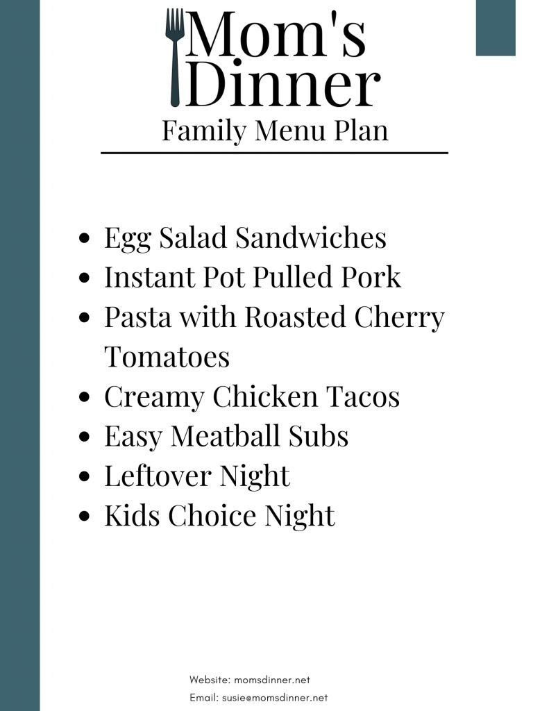 a list of meals for the meal plan, printable