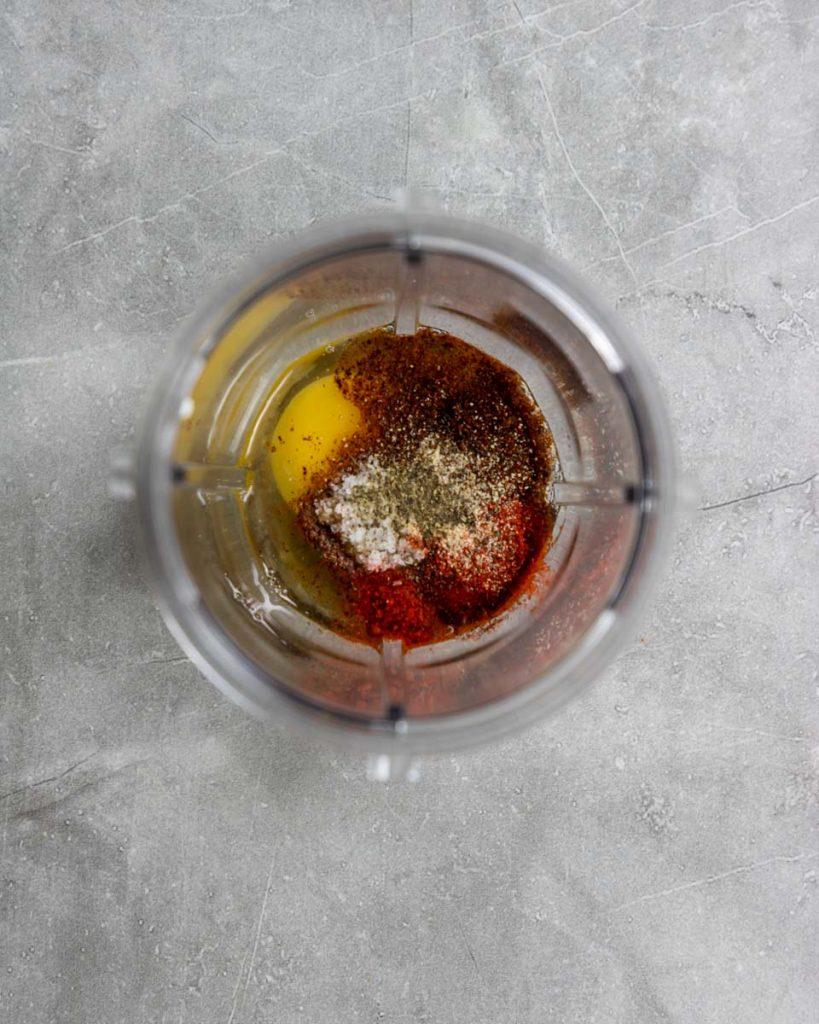 ingredients in blender for homemade aioli