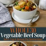 soup in bowls with text for pinterest