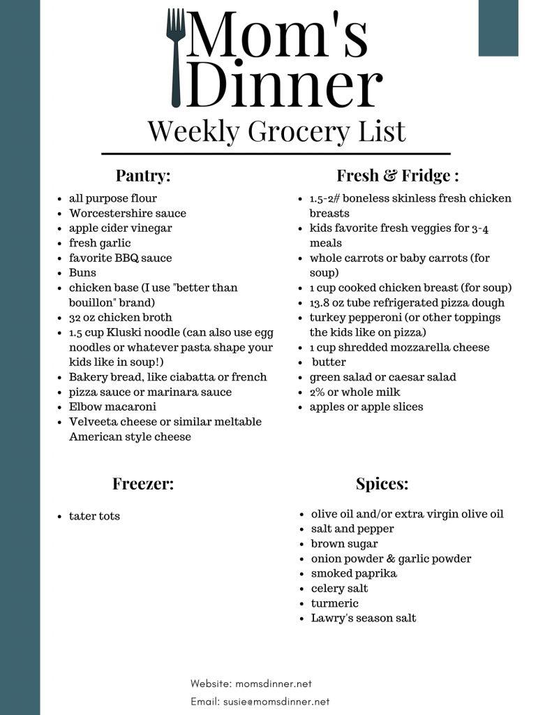 printable grocery list for kids meal plan