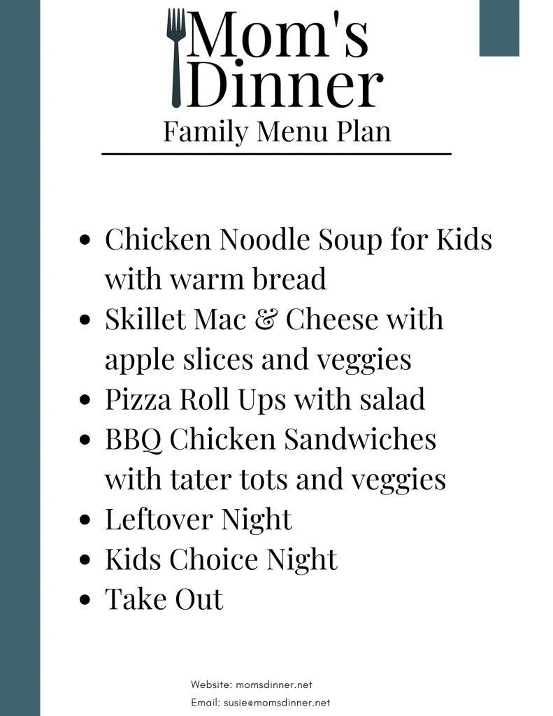 printable meal plan for the fridge