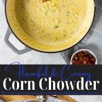 corn chowder in a pot with text for pinterest