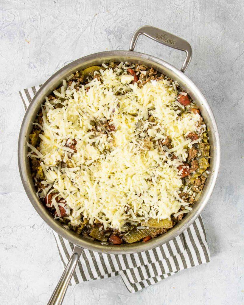 mozzarella added to the top of the pesto skillet