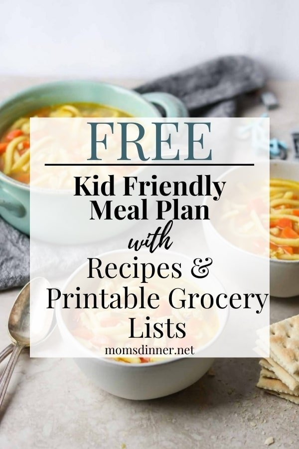 kid friendly meal plan image with text