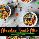 Monster Trail Mix Pin image with text