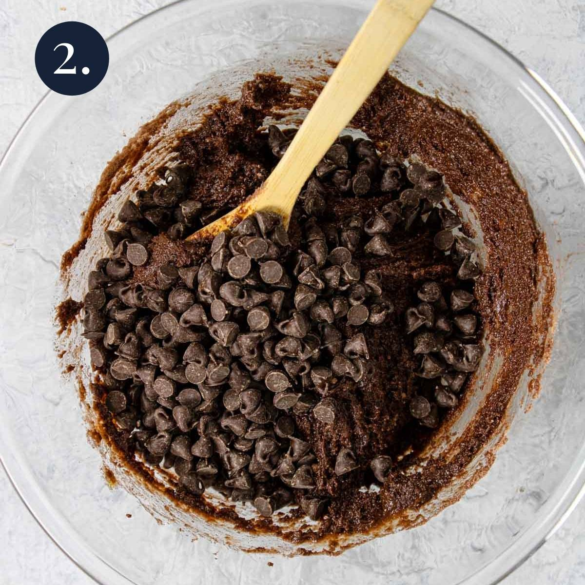 cake mix brownie batter in a bowl with chocolate chips