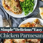 chicken parmesan pin image with text
