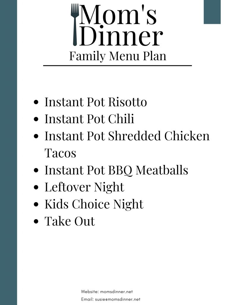 List of dinners for the Instant Pot Meal Plan