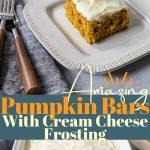 pumpkin bar recipe pinterest image with text overlay