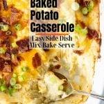 twice baked potato casserole with pinterest text overlay
