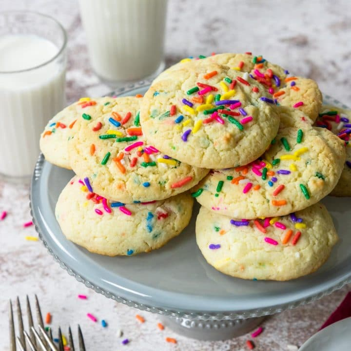funfetti cookies on a cake plate