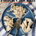 poached chicken on a plate with text for pinterest