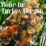 Roasted turkey breast pin image with text