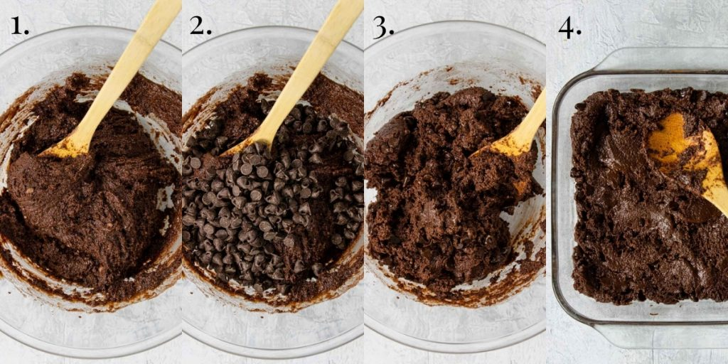 steps one through four for making cake mix brownies