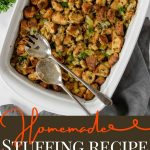 stuffing in a baking dish with pinterest text overlay