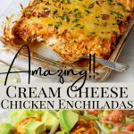 enchilada recipe photos with pinterest text