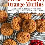 fresh cranberry muffins with pinterest text
