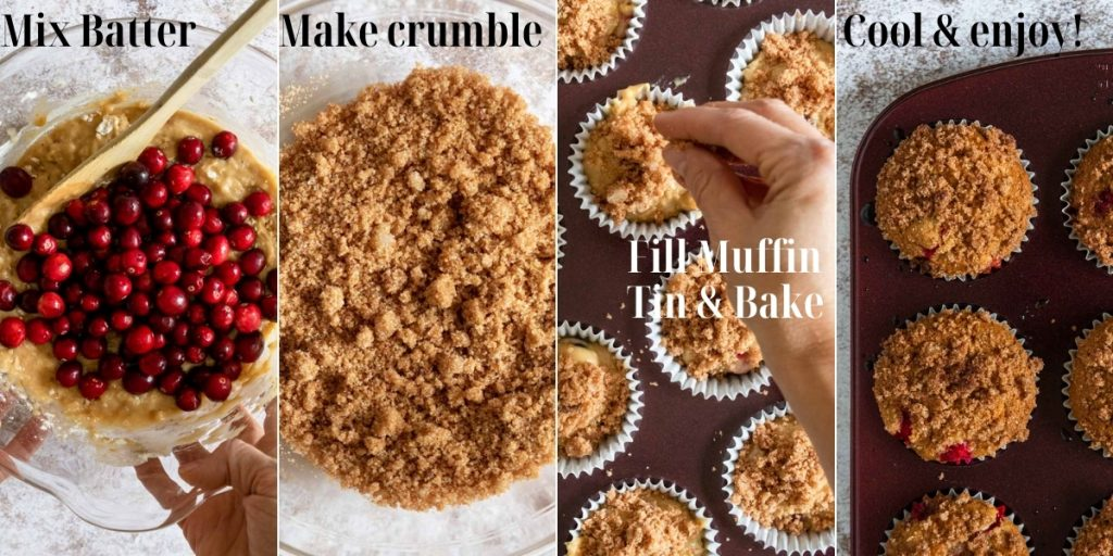 steps showing how to make cranberry orange muffins