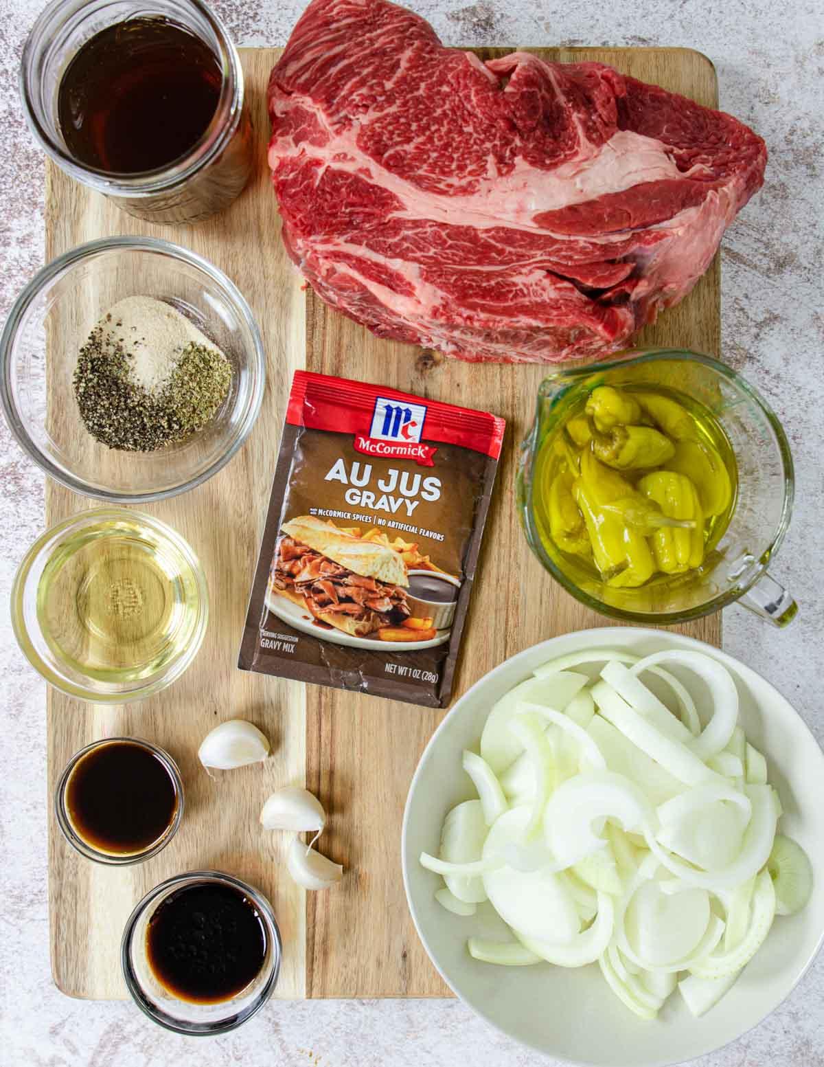 Ingredients for Instant Pot Italian Beef