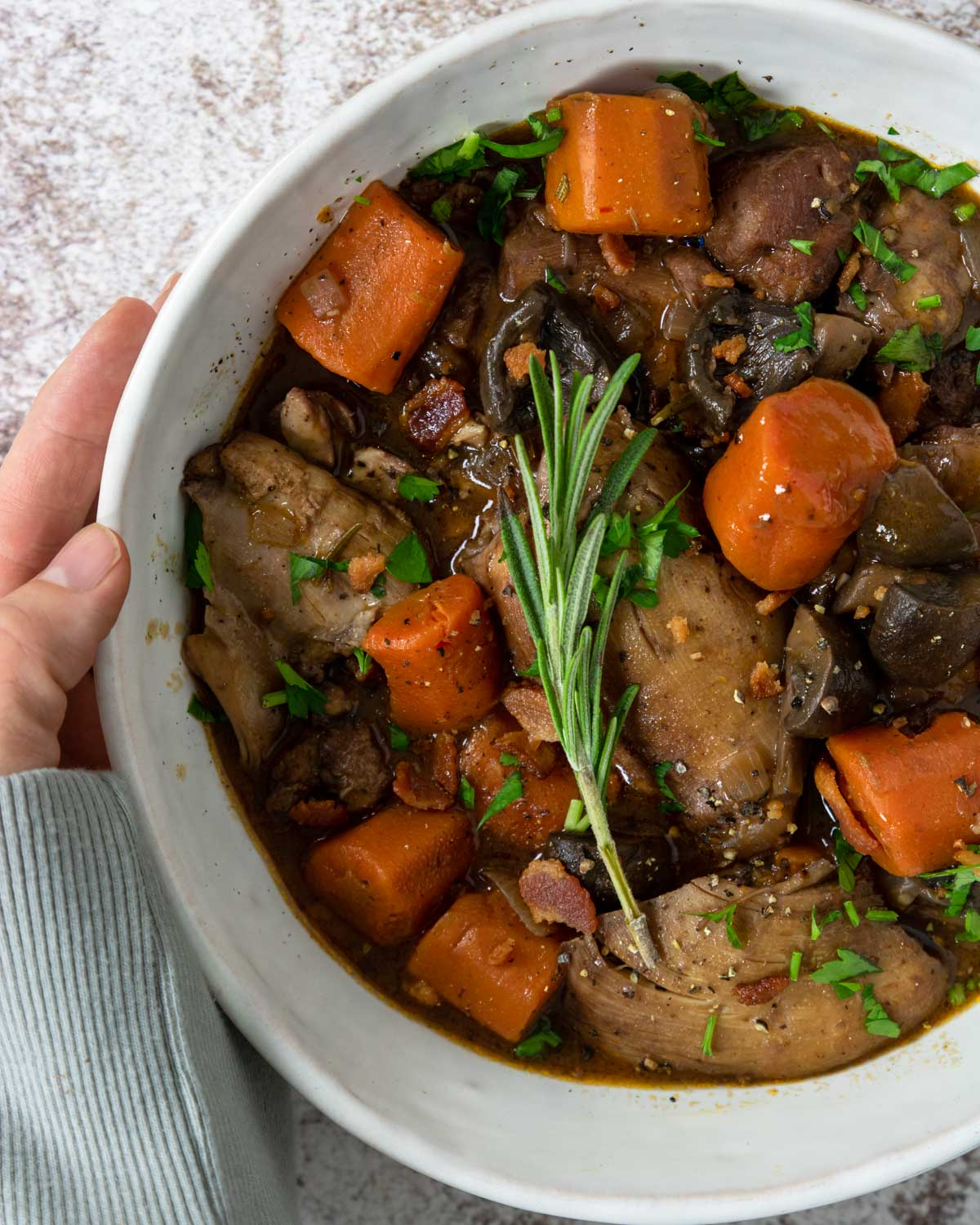 A big bowl of Coq Au Vin topped with rosemary sprig