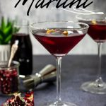 pomegranate martini in a glass with pinterest text overlay