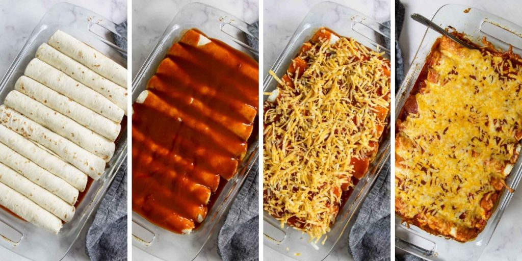 steps for prepping the casserole pan for enchiladas
