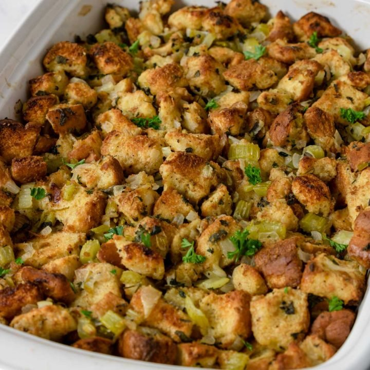 traditional bread stuffing in a baking dish