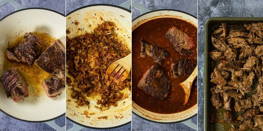 4 photos showing steps to make beef ragu