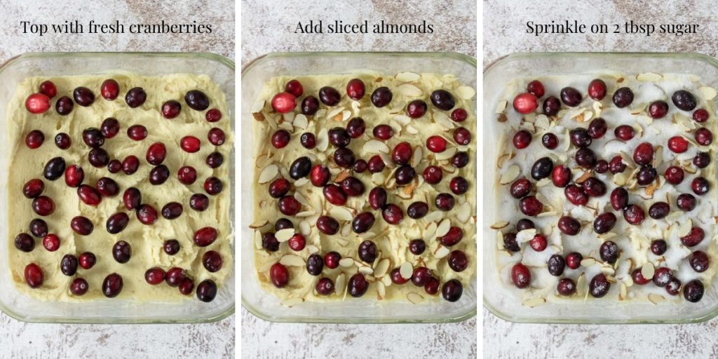 three steps for topping cranberry cake with fresh cranberries, almonds and sugar