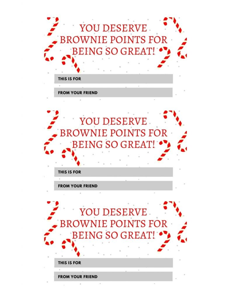 you deserve brownie points free printable gift tag