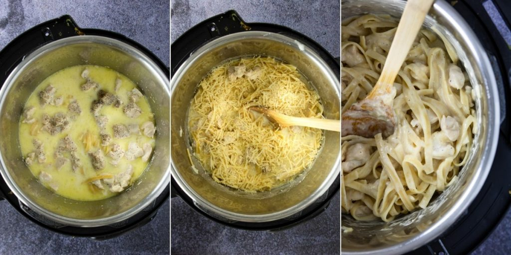3 photos - chicken alfredo in the instant pot, adding parmesan cheese, and the completed dish in the instant pot