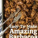 Mexican Shredded Beef (barbacoa) on a pan with forks and pinterest text overlay