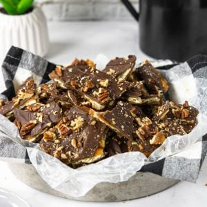 saltine cracker toffee in a bowl
