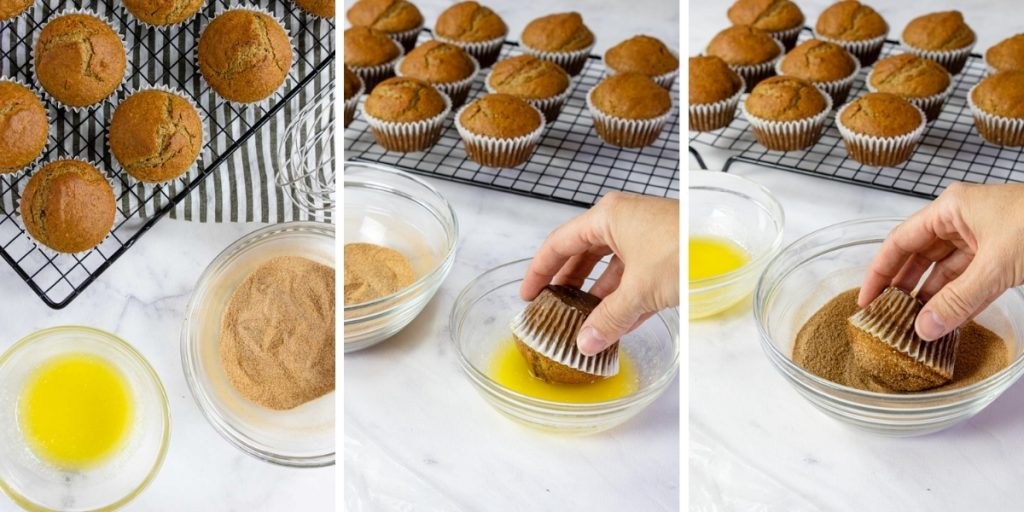 dipping snickerdoodle muffins in cinnamon and sugar
