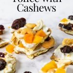 pinterest image with text for white chocolate toffee