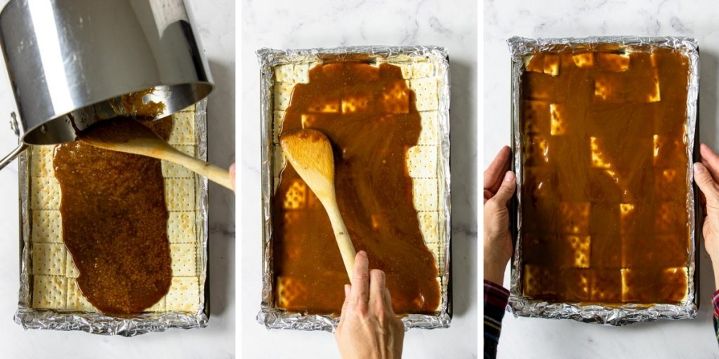 steps 4-6 for making saltine cracker toffee