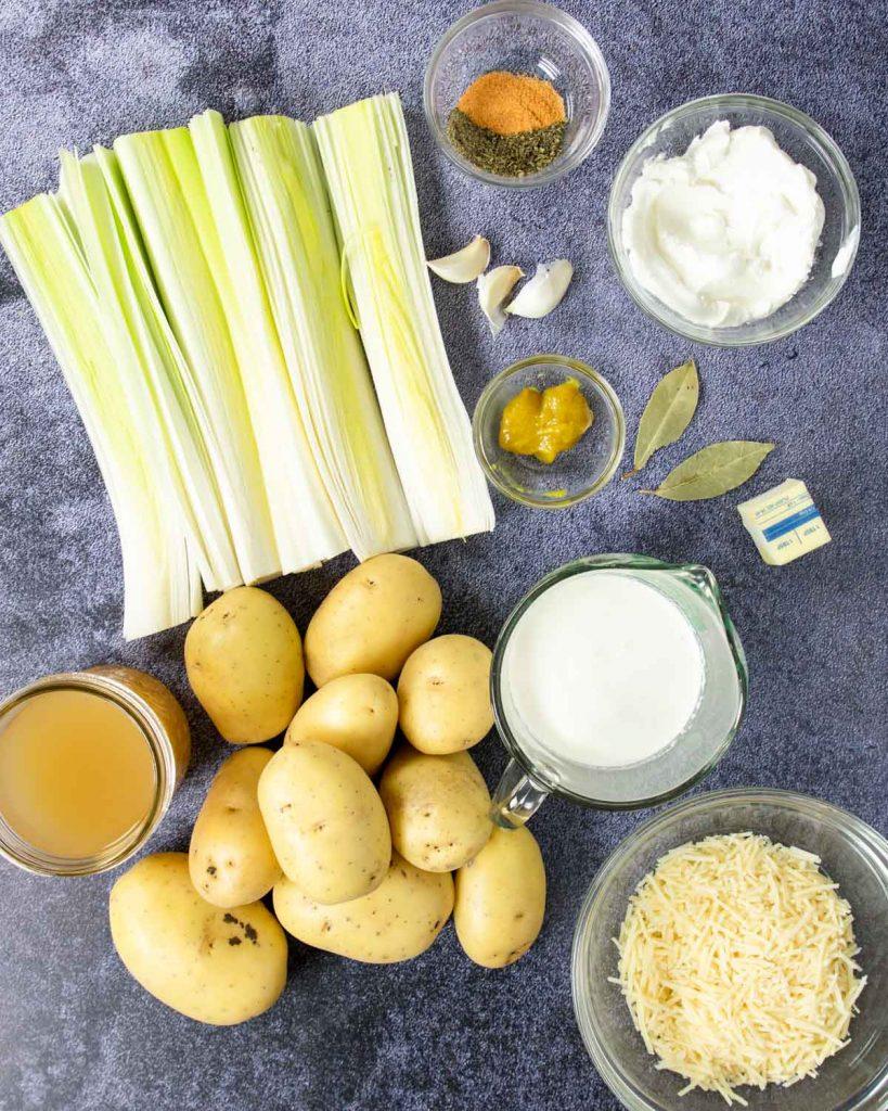 ingredients to make potato leek soup