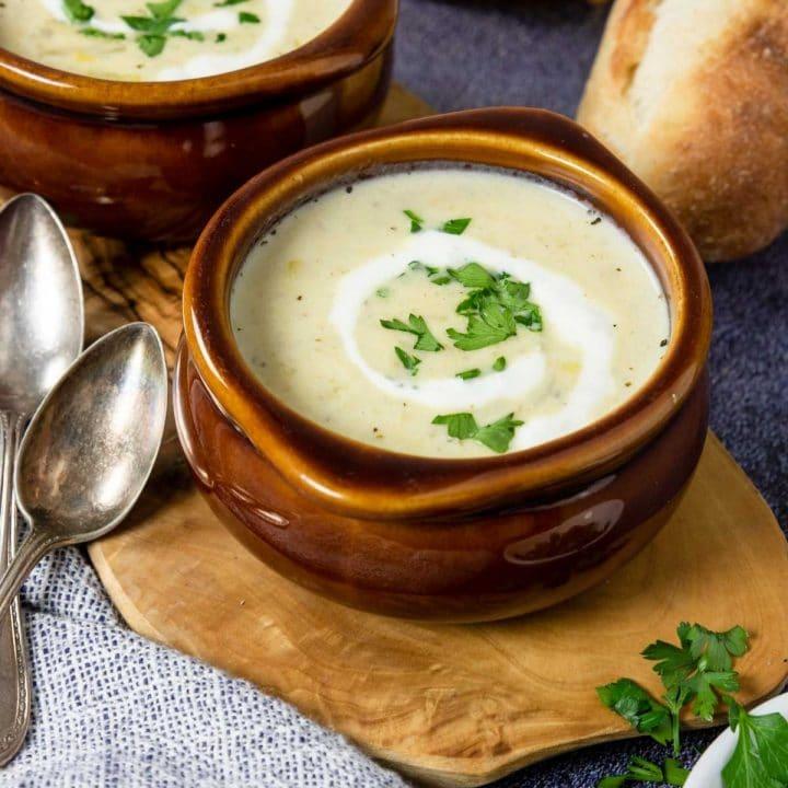 two bowls of potato leek soup