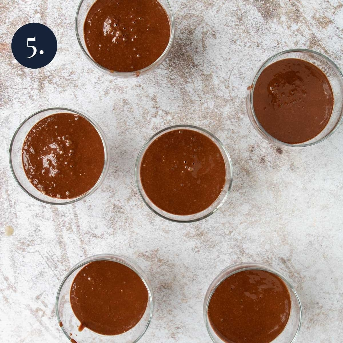 dessert cups filled with chocolate