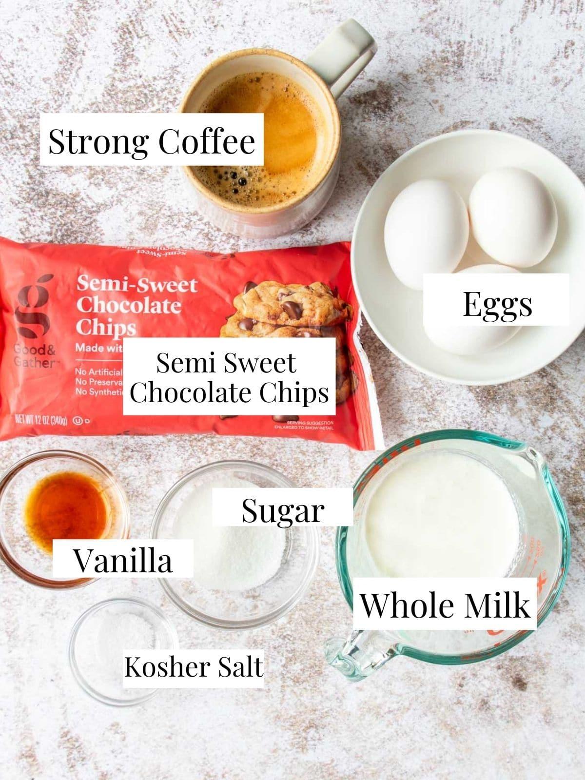 ingredients for chocolate pot de creme