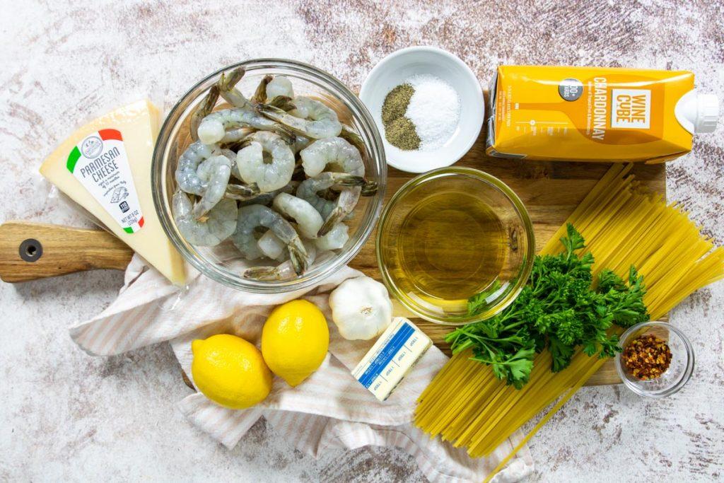ingredients for shrimp scampi linguine