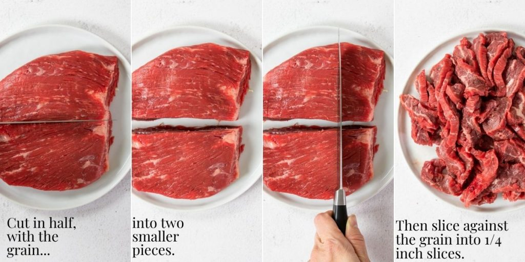 steps showing how to cut flank steak
