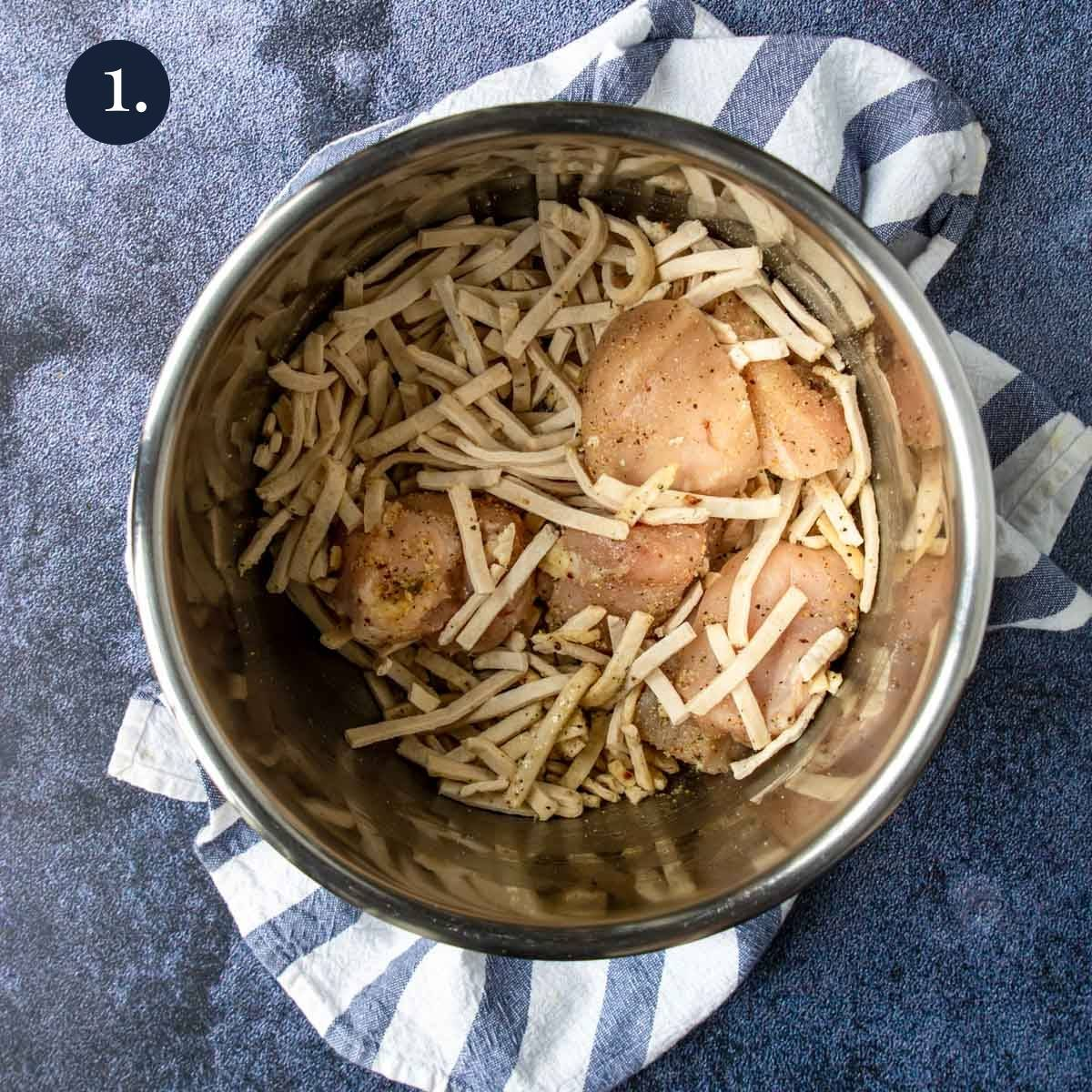 egg noodles and chicken in the instant pot