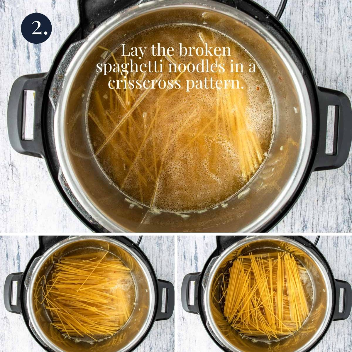 three pictures of spaghetti being crisscrossed in the instant pot