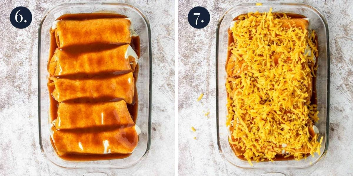 burritos with enchilada sauce and then topped with cheese