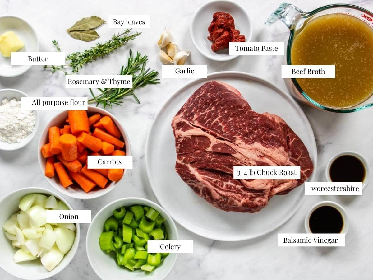 ingredients for pot roast labeled with text