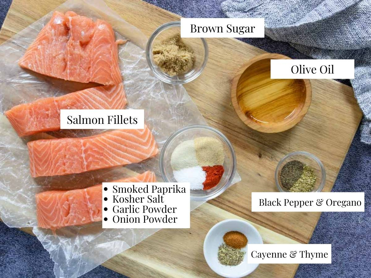 ingredients for Cajun Salmon with text overlay